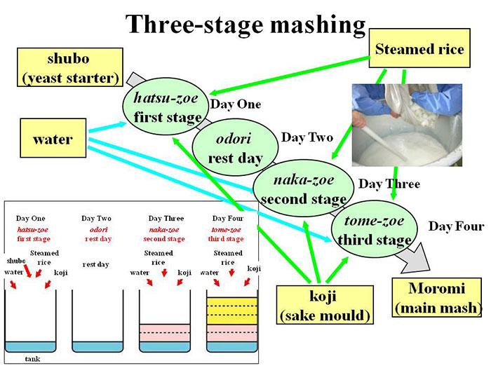 Three-stage mashing